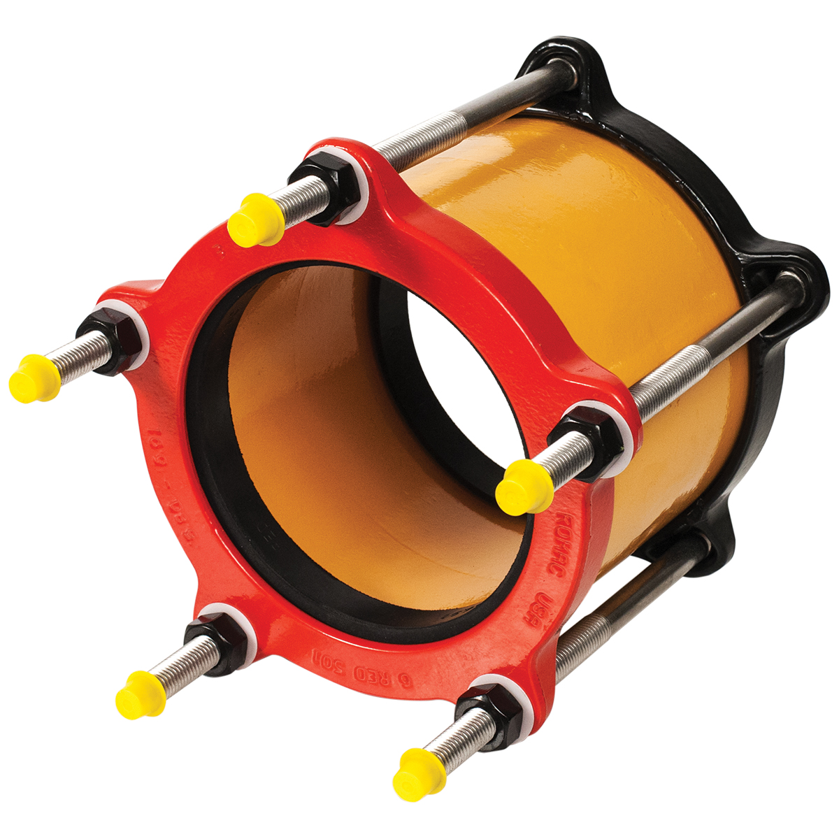 501 - Ductile iron coupling with color-coded end ringsNominal Sizes4 - 12 inchesWorking PressureUp to 25 psiPipe CompatibilitySteel, cast iron, asbestos cement, plastic and other types of pipe