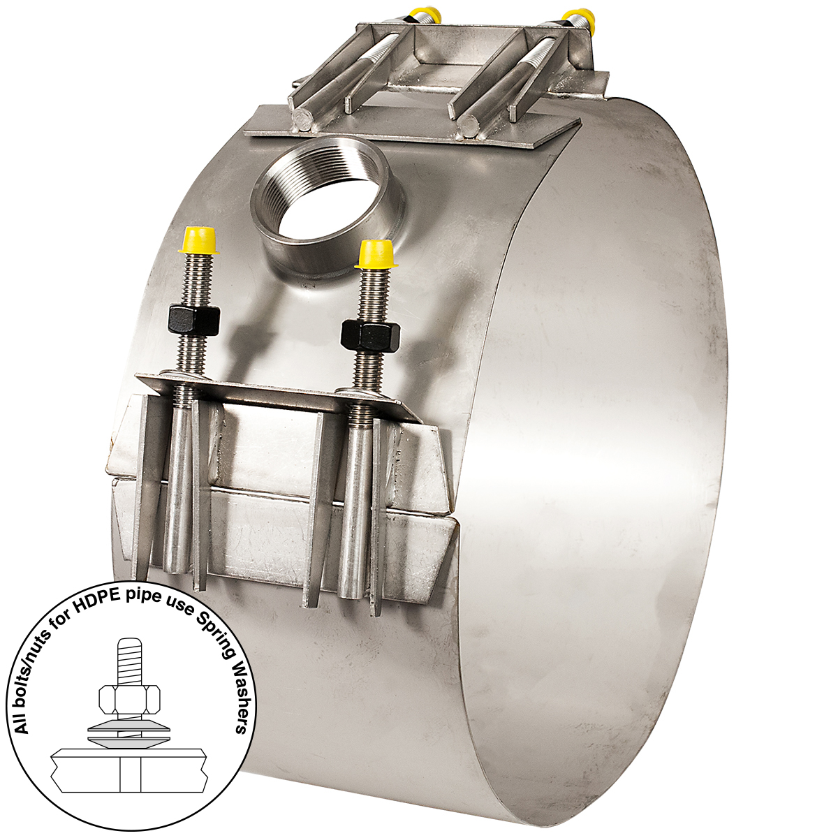 305-H - Stainless steel service saddle for HDPE pipeNominal Sizes10 - 12 inchesWorking PressureUp to 150 psiPipe CompatibilityHDPE pipe with a minimum wall thickness of SDR26