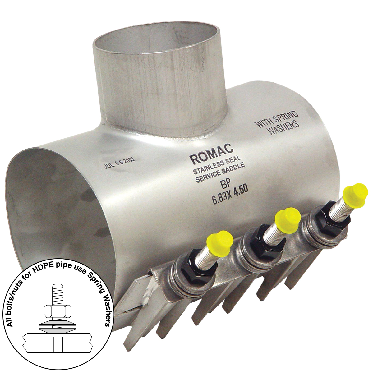 BP - Stainless steel sewer saddle for use on HDPE pipeNominal Sizes6 - 12 inchesWorking PressureUp to 10 psiPipe CompatibilityHDPE pipe with a minimum wall thickness of SDR32.5