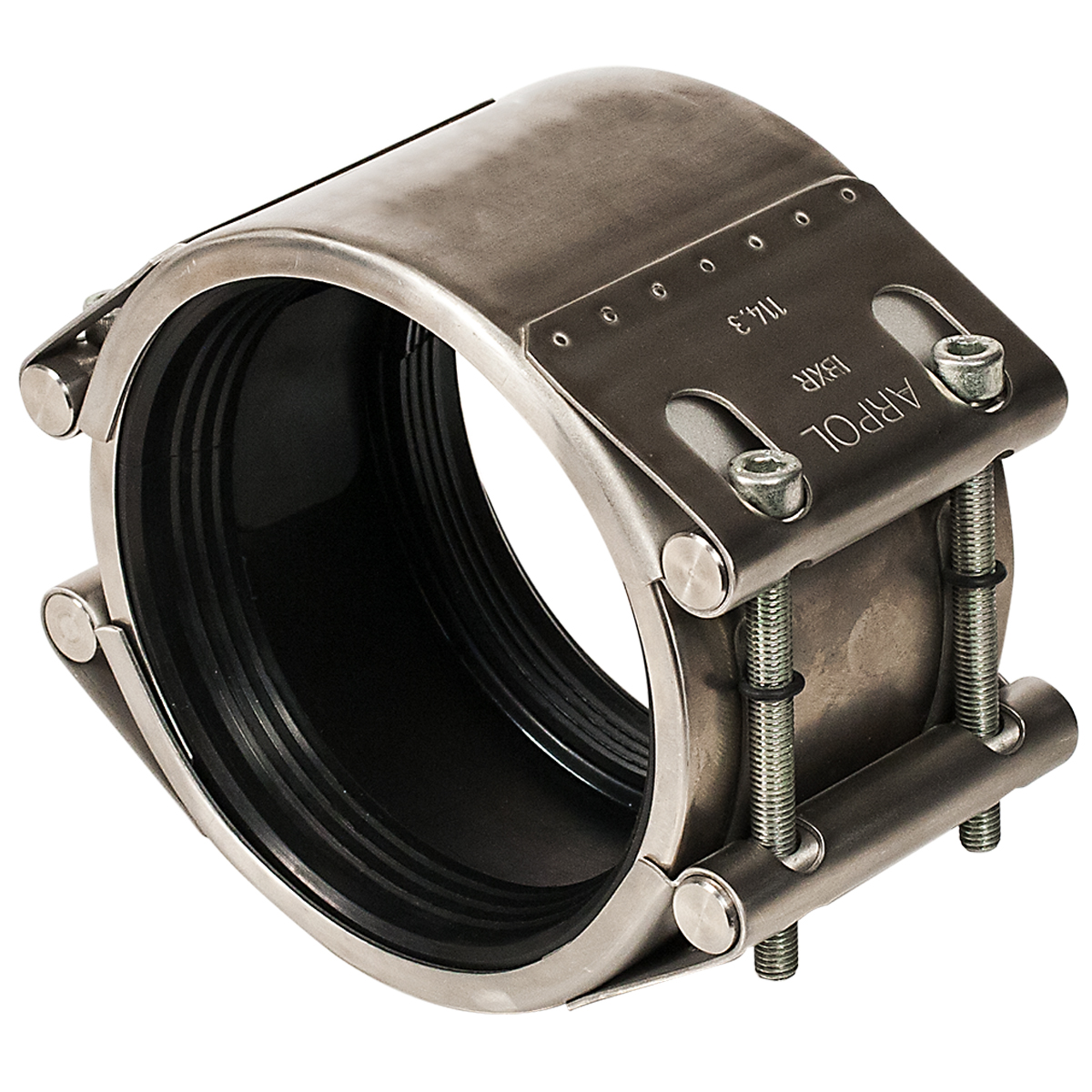 ARMOR SEAL - All stainless steel flexible repair clamp, also functions as a coupling