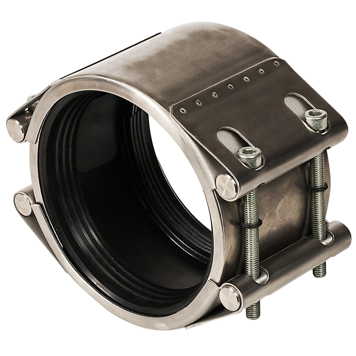 ARMOR SEAL - Stainless steel pipe repair clamp with hydrostatic gasket.Nominal Sizes4 - 24 inchesWorking PressureSee catalog pagePipe CompatibilitySteel, cast iron, ductile iron, asbestos cement, concrete,  PVC, HDPE