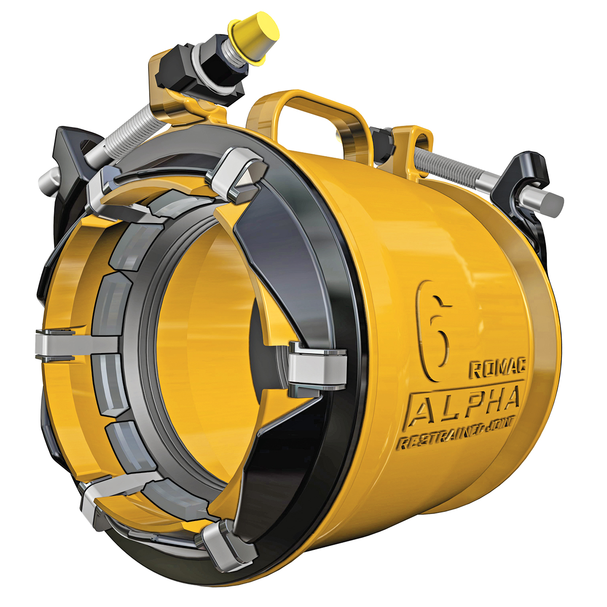 ALPHA - Stab-fit wide range coupling with restraintNominal Sizes4 - 12 inchesWorking PressureUp to 350 psiPipe Compatibility Ductile Iron, Cast Iron, PVC and HDPE