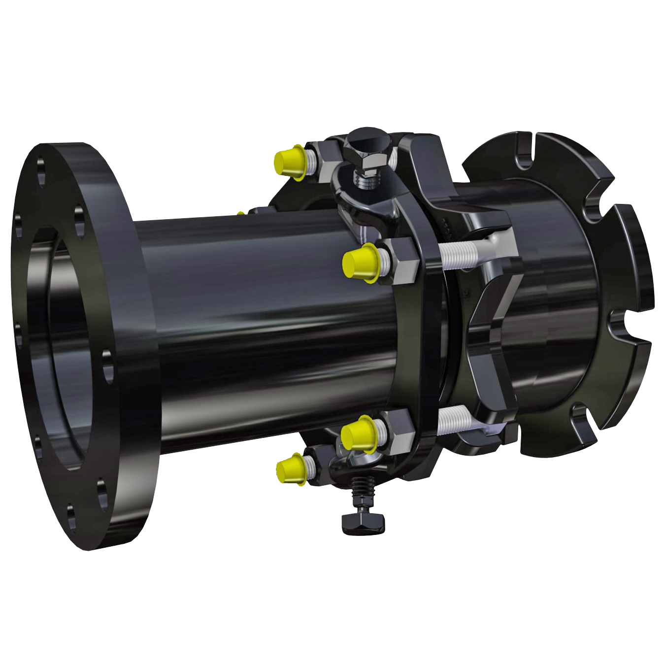 DJ405 - Adjustable telescoping restraint without tie-rods. Ideal for systems that require periodic maintenance, the DJ405 can be adjusted to length to allow access for installation or removal of valves and other equipment.Nominal Sizes3 - 24 inchesWorking PressureUp to the maximum rating of the flange