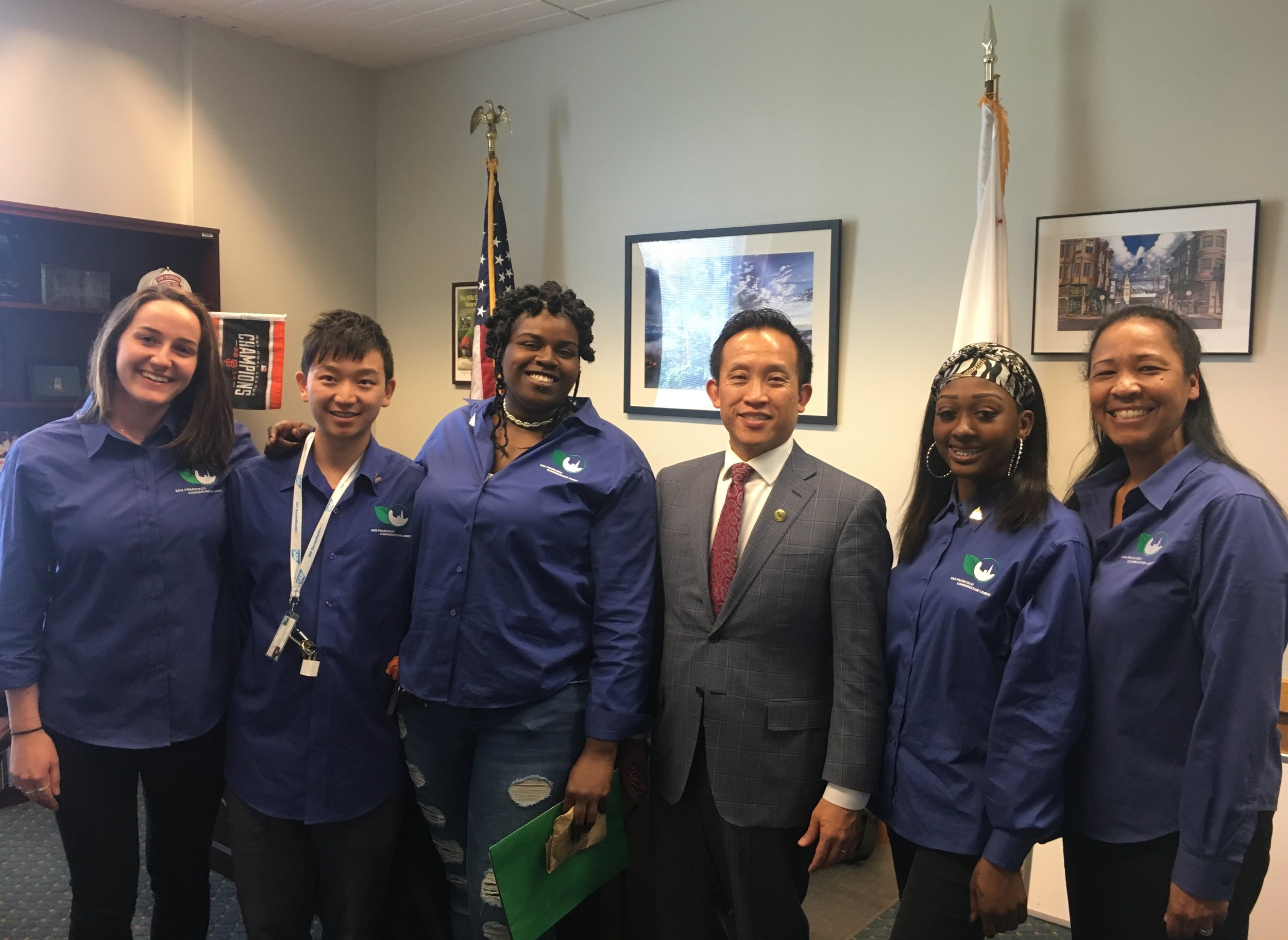 Corpsmembers and staff with Assemblymember David Chiu