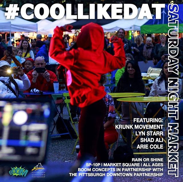 KRUNK Movement will be performing at #COOLLIKEDAT event in Market Square at 5:30 tonight!  Come enjoy some live music at the Saturday Night Market!!! • • • #krunkpgh #hiphop #liveperfomance #pittsburghevents #pittsburgh #412 #boomconcepts #downtownpittsburgh #youthartists #pghevents #city #music #dance #marketsquare #centeroflife