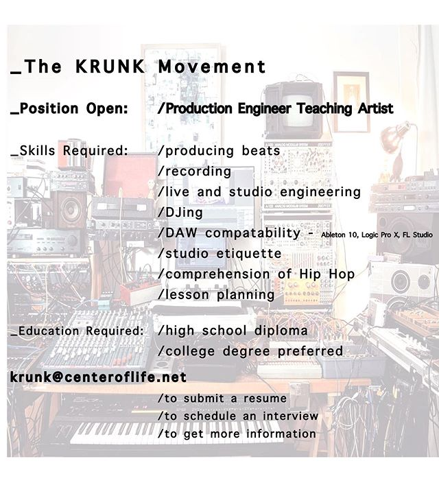 The KRUNK Movement is hiring professional teaching artist for Fall 19! Tag someone you know! • • • #krunkpgh #teachingartist #pittsburghjobs #jobsforartists #applytoday #pittsburgh #mc #hihopeducation #nowhiring #explorepage #teacherjobs #parttime #tagsomeone #backtoschool #letsgetthisbread
