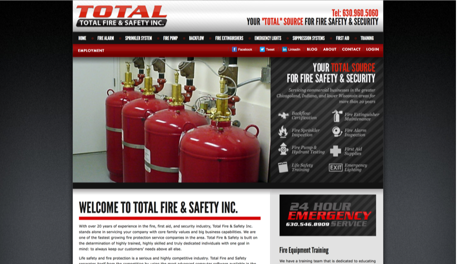 Total Fire and Safety Inc.   use high quality of photography to exude professionalism and trustworthiness, but the use of bold font weights throughout the site at times badly affected the site's hierarchy and decreased their sense of professionalism. The use of red as the primary color throughout competed with other colors on many of their screens. Lastly, their use of photo carousels and striped patterns were at times distracting and didn't match with the rest of the website's UI.