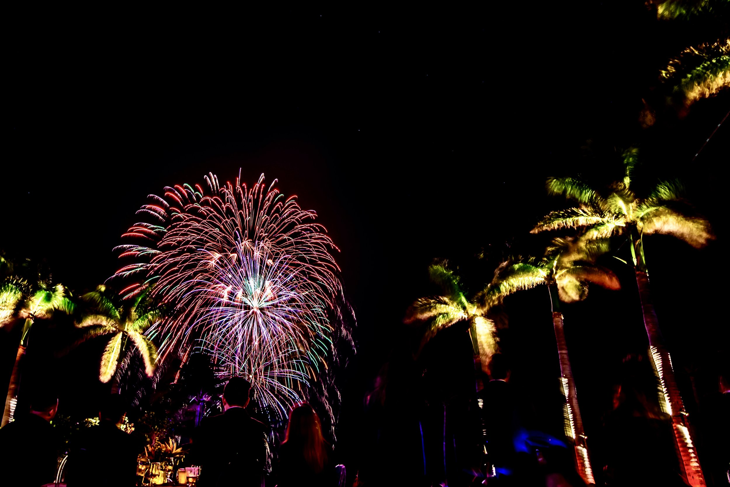 Fireworks over Key Biscayne at the Soft Gold Gala produced by Exhilarate Events, 3/25/18.