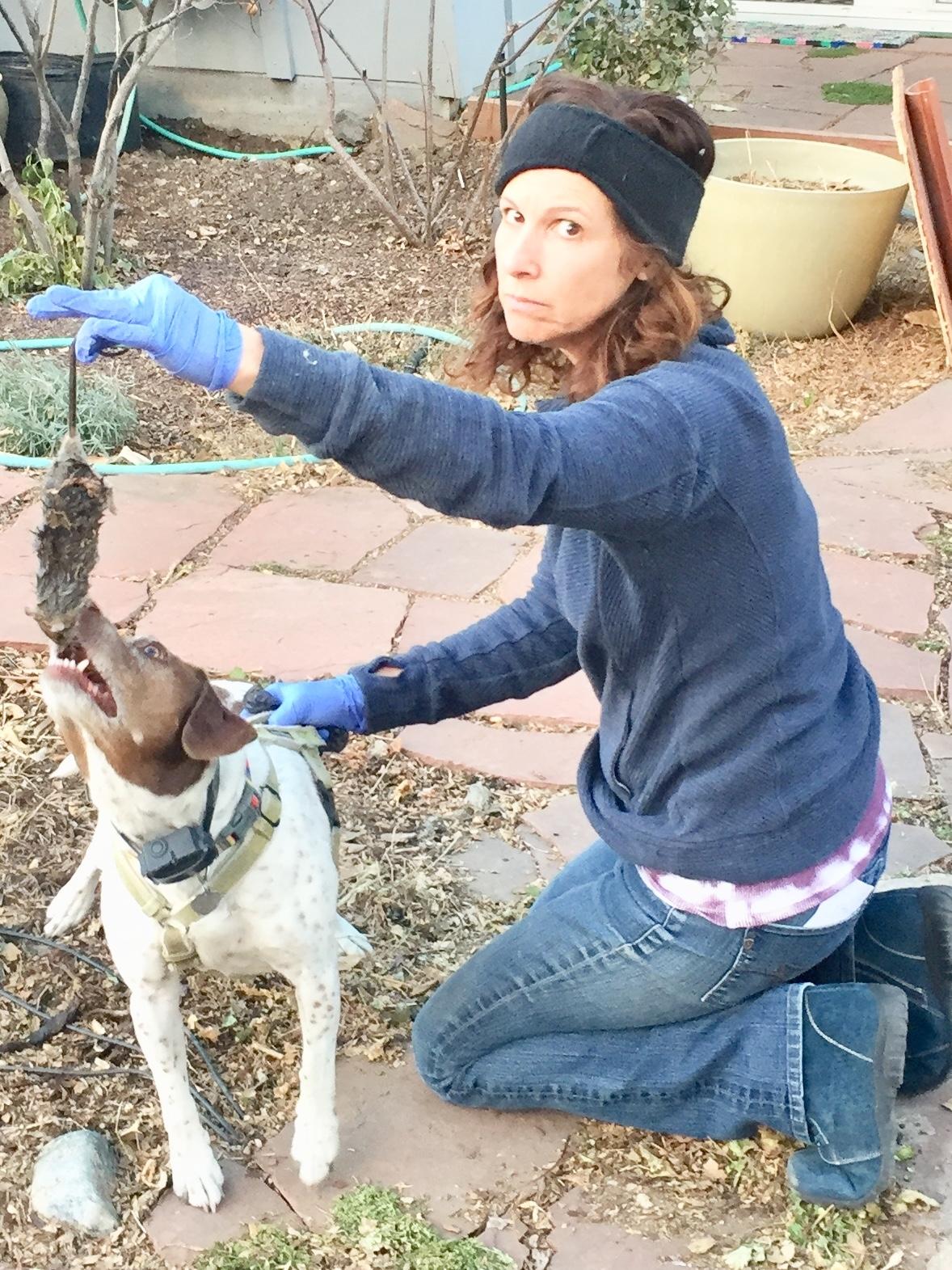 Ellen and her pup Jane got a rat.