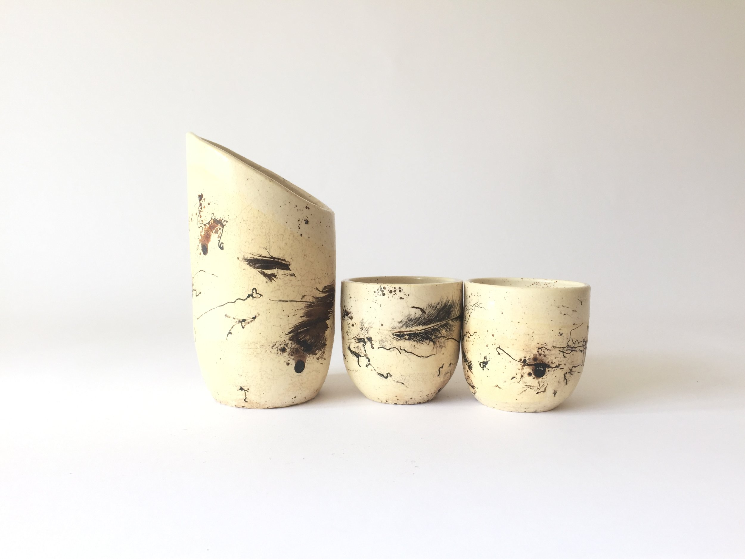 """Horsehair Tea Set  One 8"""" carafe and two 3"""" tea cups. Wholesale 120"""