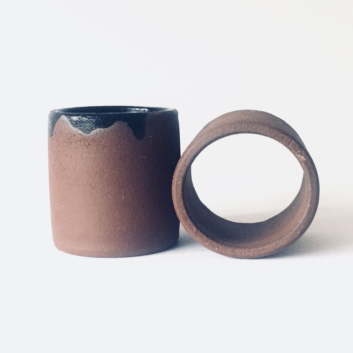 "Infinity Black  Wheel-thrown. Glaze on chocolate stoneware. 4""H x 4""W x 8""L Wholesale 34"