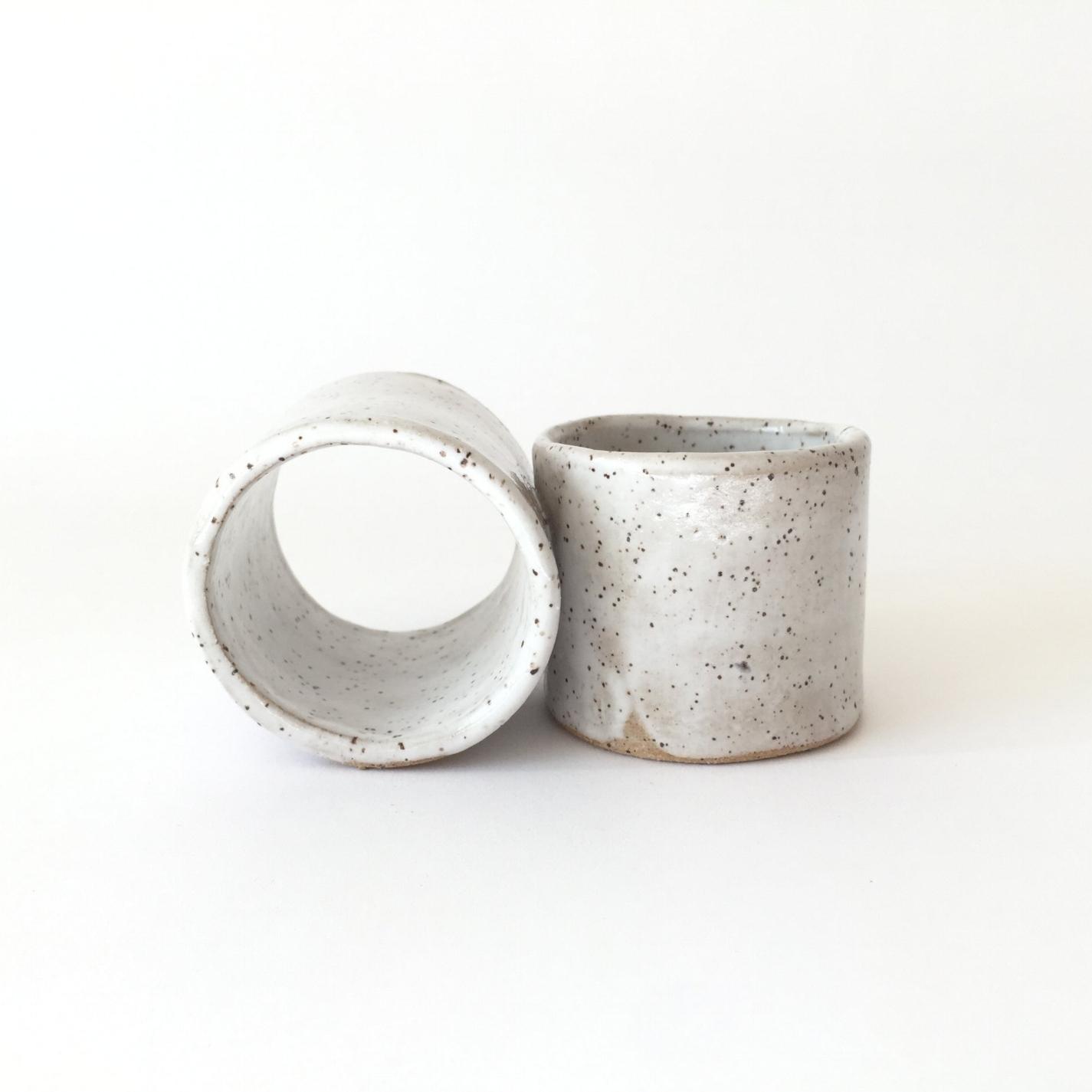 """Infinity Mini  Handbuilt. Glaze on stoneware. Espresso size. 2.75""""H x 2.75""""W x 5""""L Wholesale 24"""
