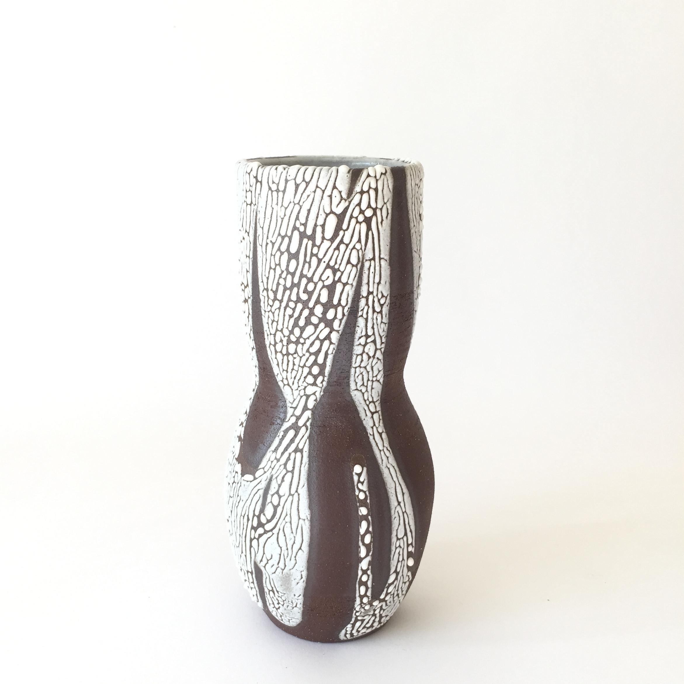 "Fjord Chocolate  Glaze on chocolate stoneware. 8""H x 5""W Wholesale 68"