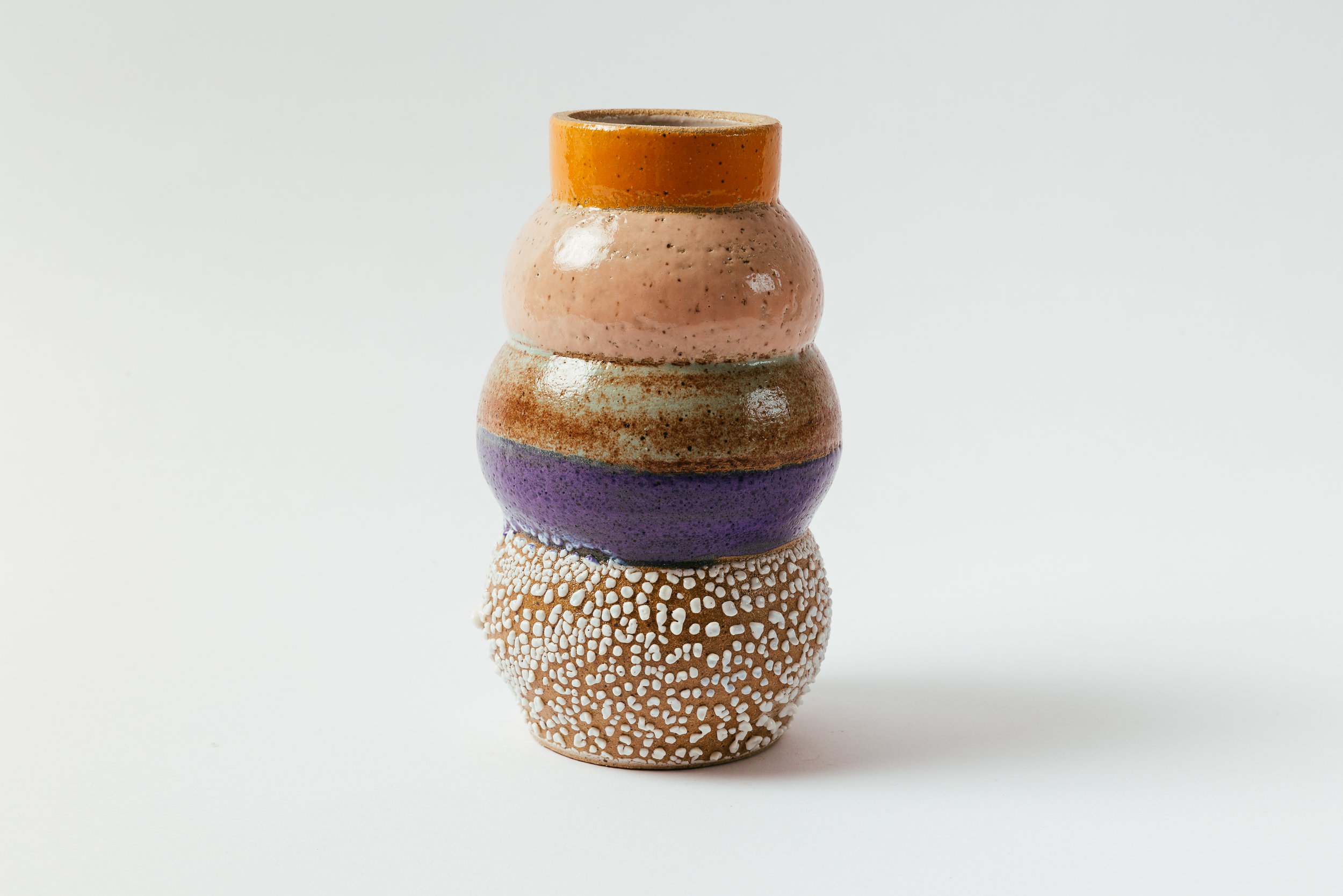 "Totem Vase in Melon   Glaze on speckled stoneware.  7.5""H x 5""W Retail 176"