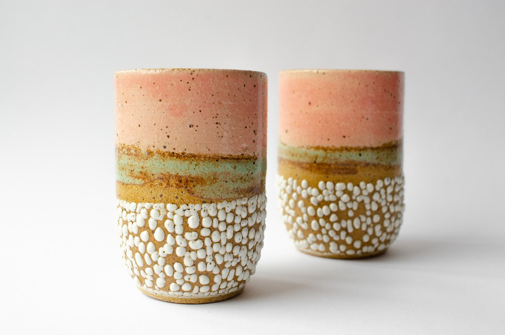"""Sunset Tumbler   Glaze on speckled stoneware. Available in custom colors.  4""""H x 3""""W Wholesale 28"""
