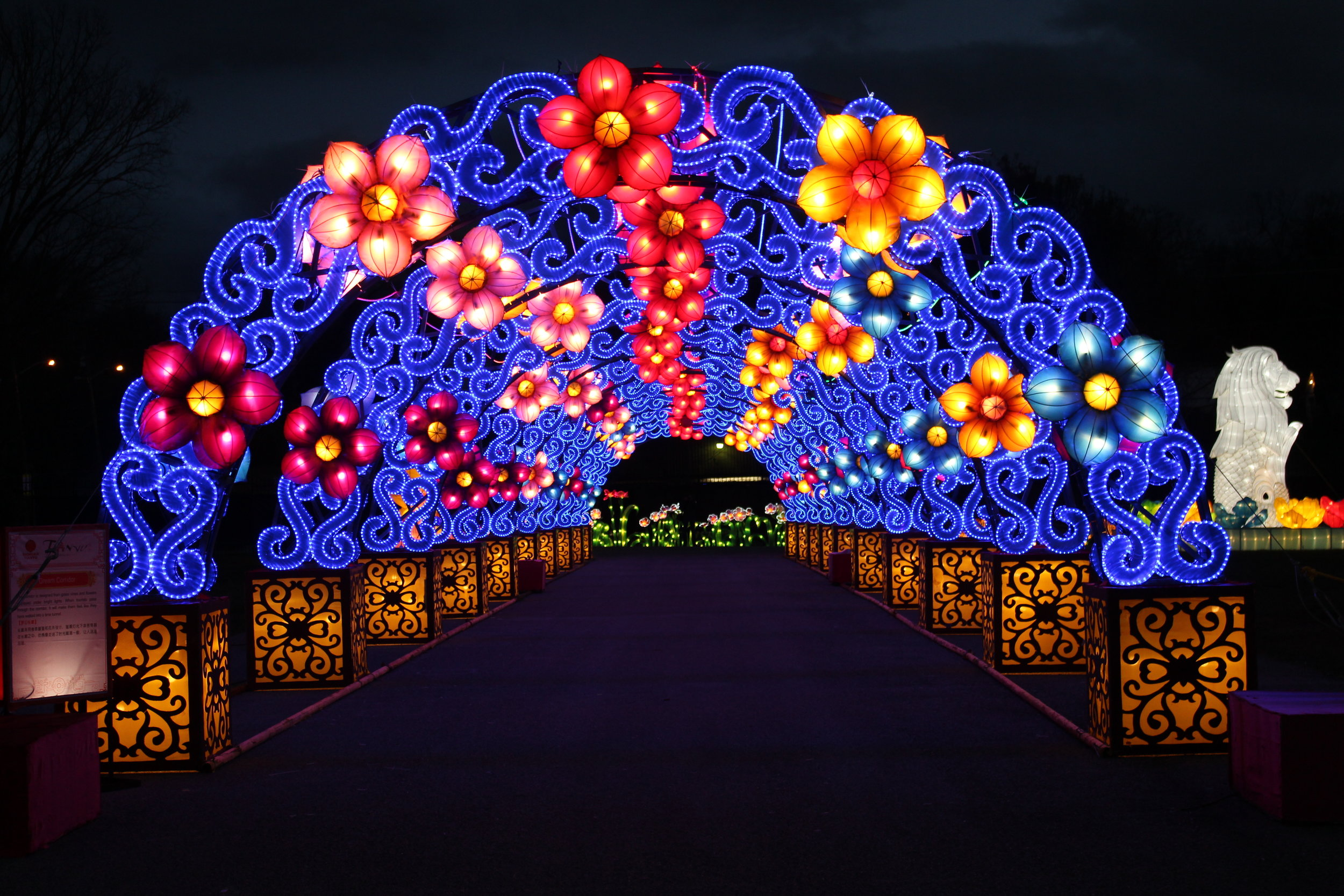 The festival features many lighted tunnels adorned with beautiful lights.
