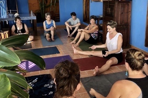 Brooke teaching Yoga in Mexico