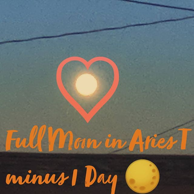 Full Moon in Aries 🌕. *Find the balance between your needs & others *Make sure you are having FUN *Be mindful of impulsiveness *Absorb your drive & power to manifest your goals, no excuses ❤️ BREATHE 💙