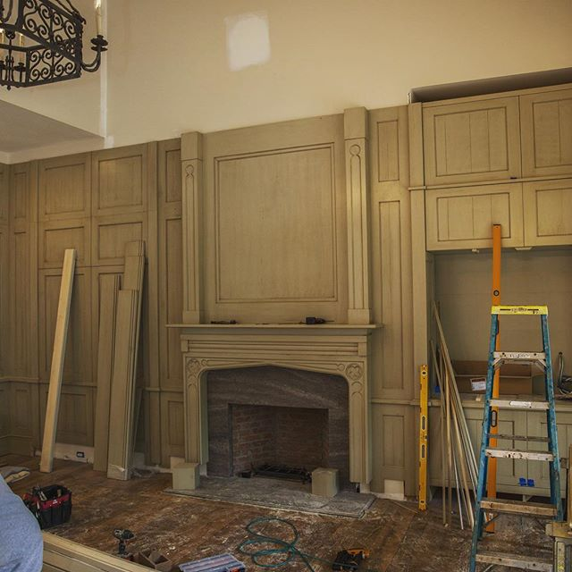 We have the mantel wall nearly complete! #wood #woodworking #love #portercable #bosch #milwaukeetools #makita #dewalt #design #color #detail #panels #mantel #fireplace #cabinetry #carprenty #awesome #interiordesign