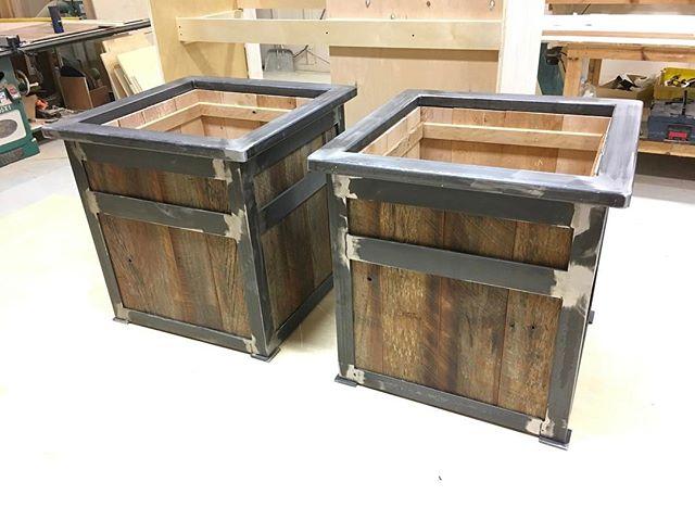 Planter boxes ! #woodworking #wood #metal #craftsmanship #oak
