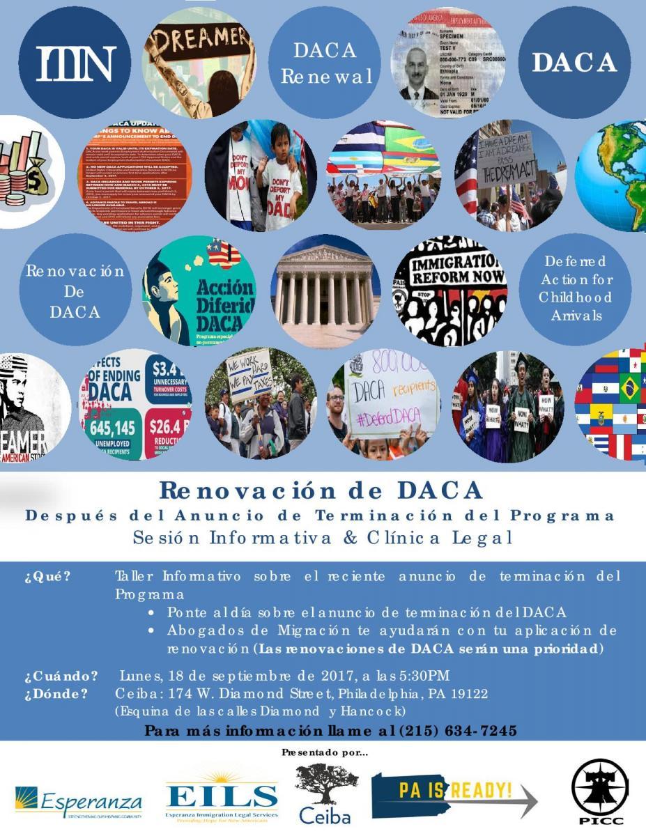Si tiene alguna pregunta sobre el estatus de su DACA, llamenos al 215-634-7245   Cobertura de Univision de la Sesión Informativa y Clínica Legal