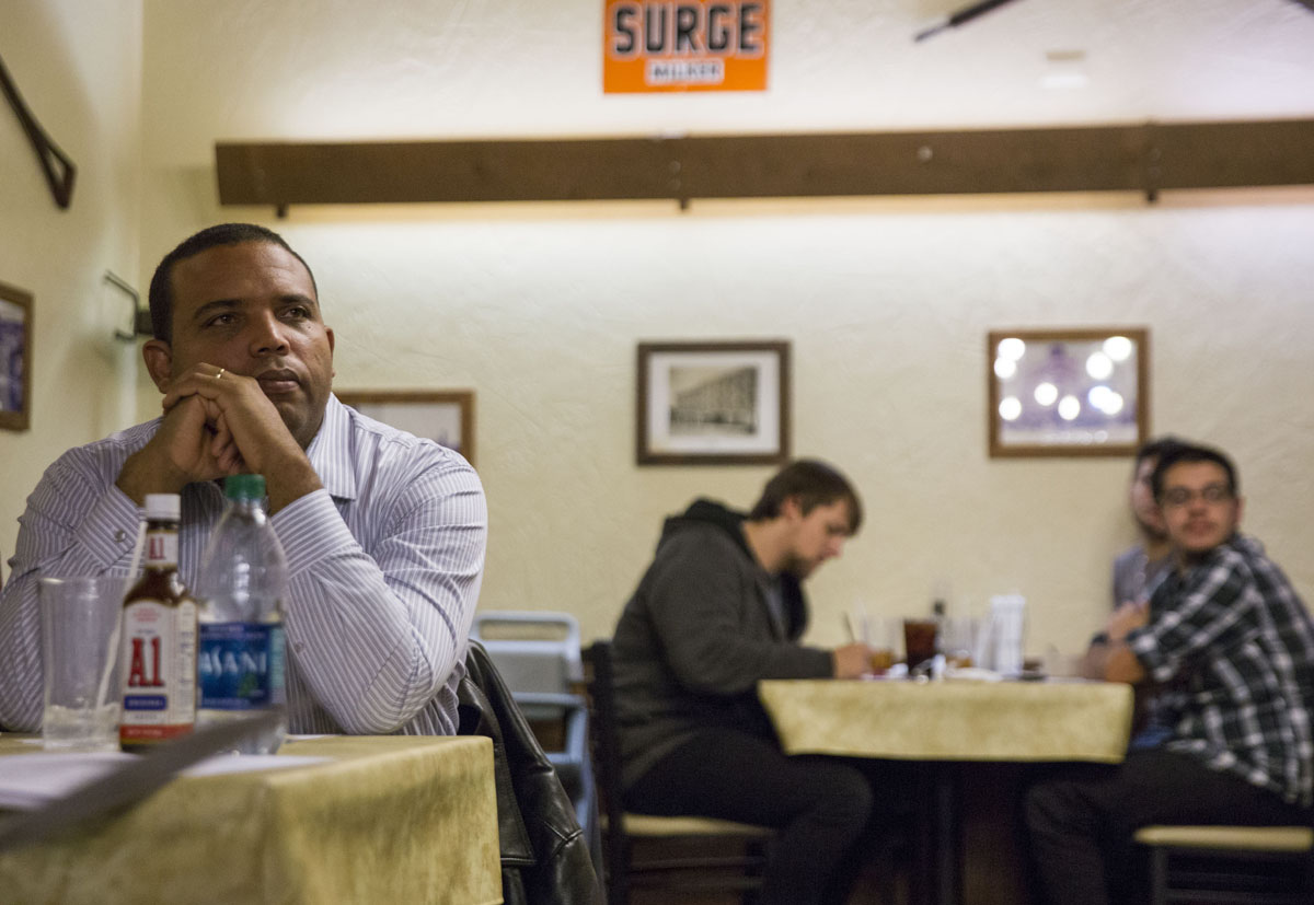 Cesar Liriano attends a poll watchers training with the Lebanon County Democrats at Hoss's Restaurant.  (Lindsay Lazarski/WHYY)