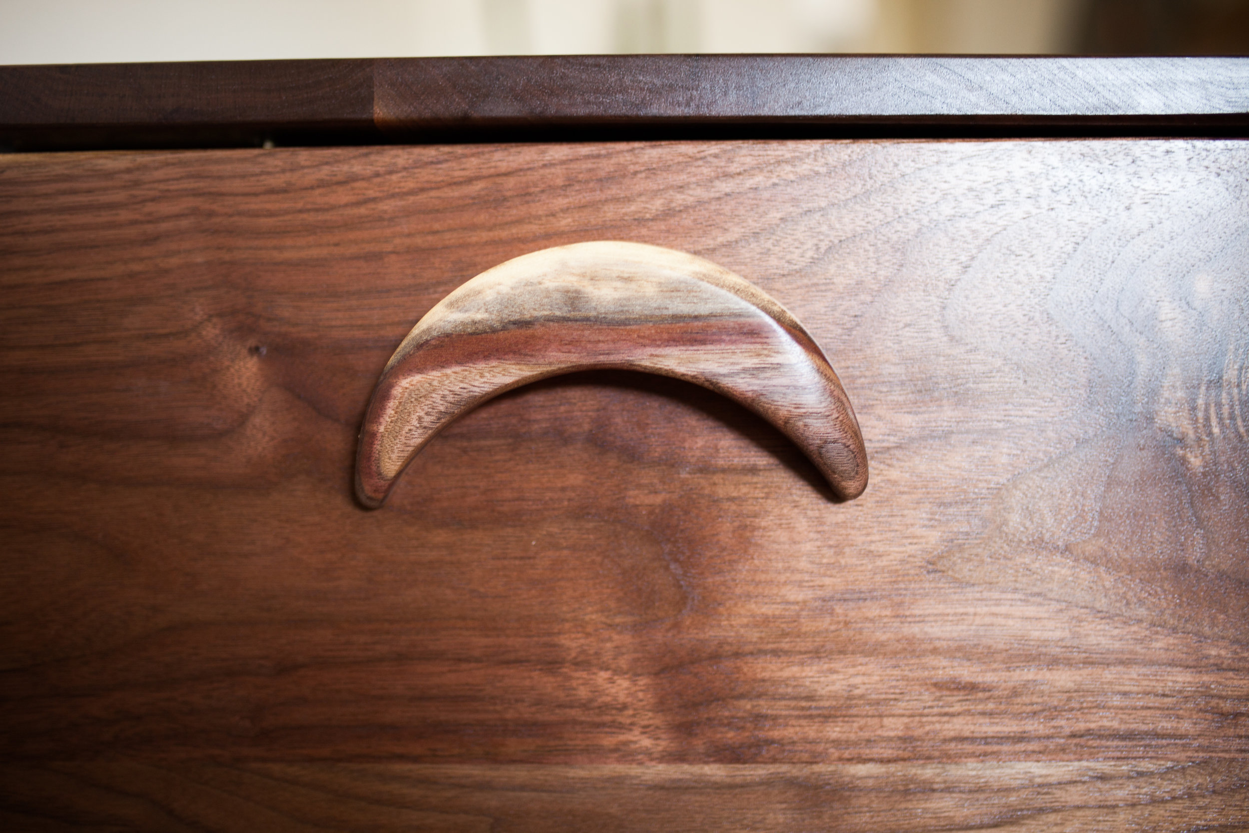 walnut moon handle
