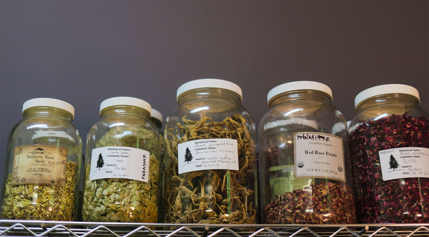 Large clear jars of labeled dried herbs for herbal medicine at the Pine's Herbals apothecary