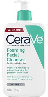 Cerave Foaming Facial Cleanser is a cleaning gel that is pH balanced and removes excess oil and makeup from the skin. If you are too dry, I would recommend the Hydrating Cleanser over this.