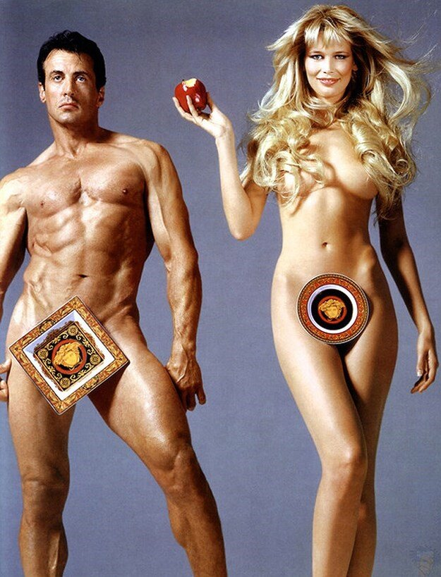 Sylvester Stallone and Claudia Schiffer, Versace Ad, 1995