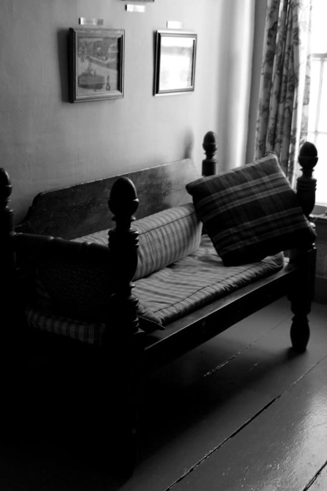 Upstairs hallway bench Black and white April 2016.jpg