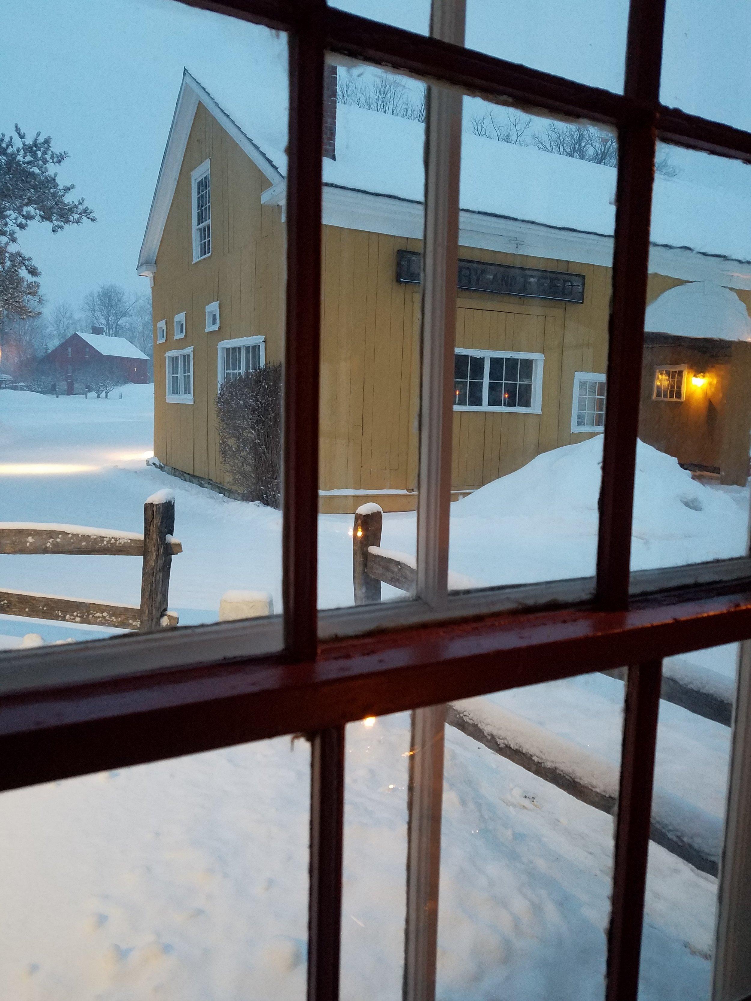 Table 32 lookin out window toward barn with snow.jpg