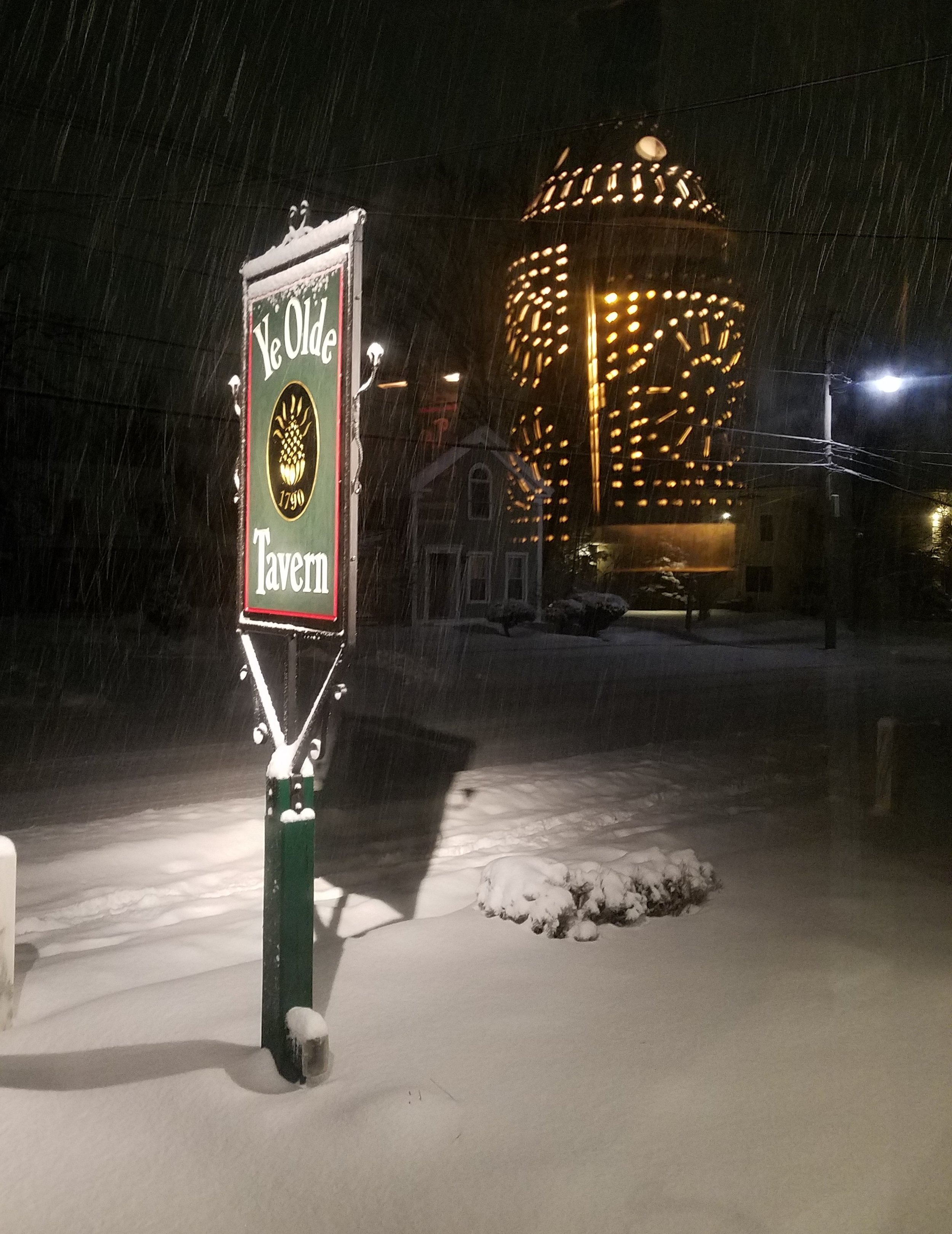 Mudroom Light reflection with Tavern sign and with Snow Feb 2018.jpg