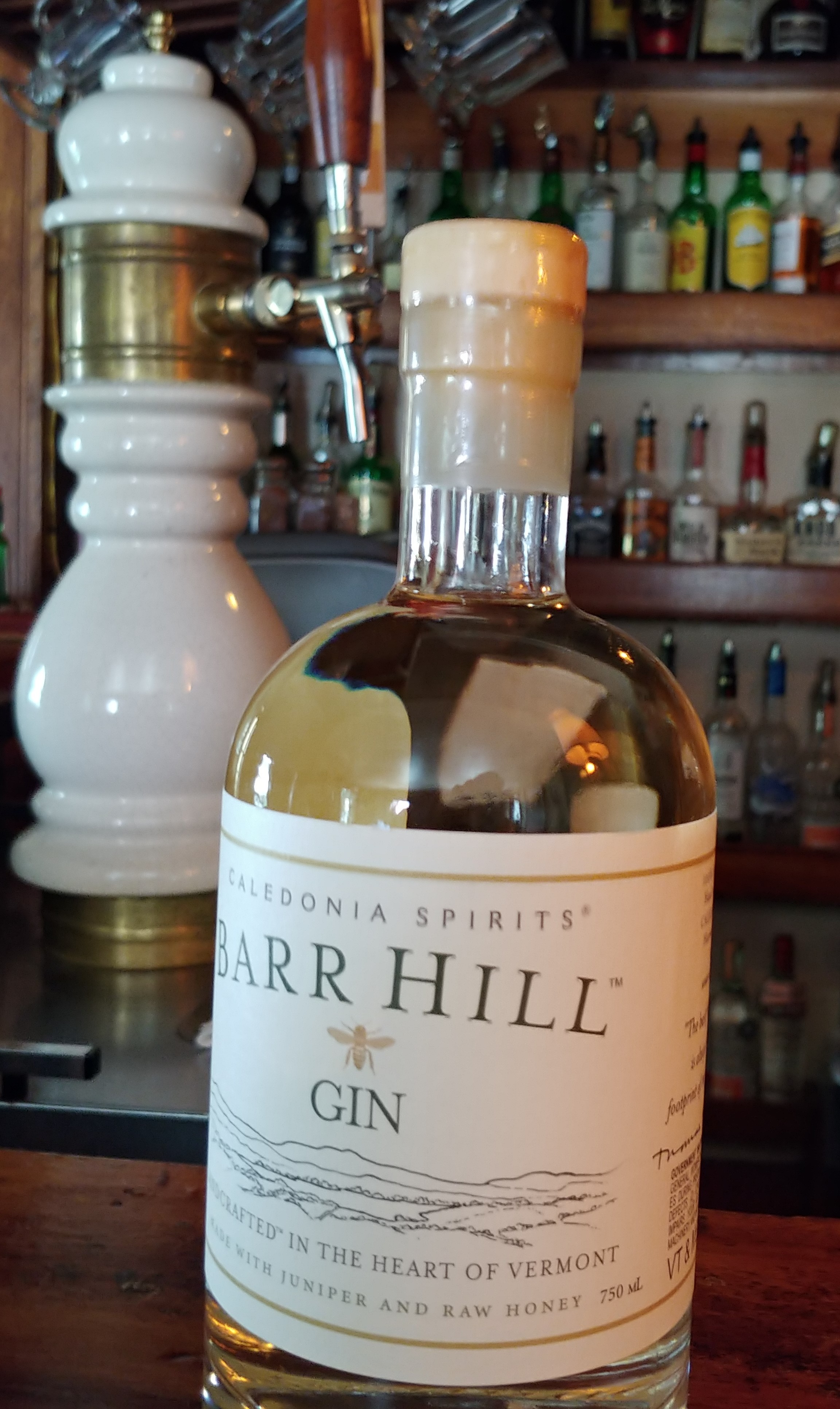 Barr Hill Gin with taps in background Aug 2018.jpg