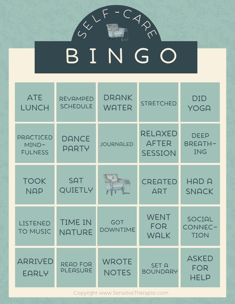 Sensitive Therapist Self Care Bingo