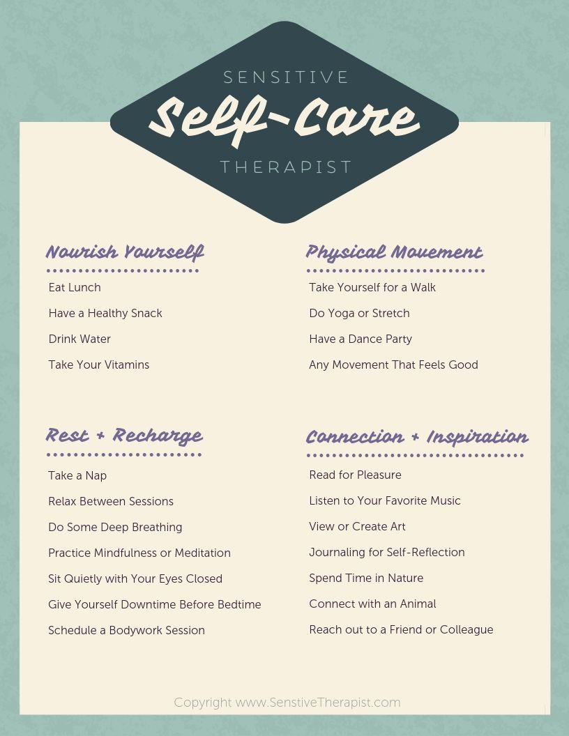 Sensitive Therapist Self Care Checklist