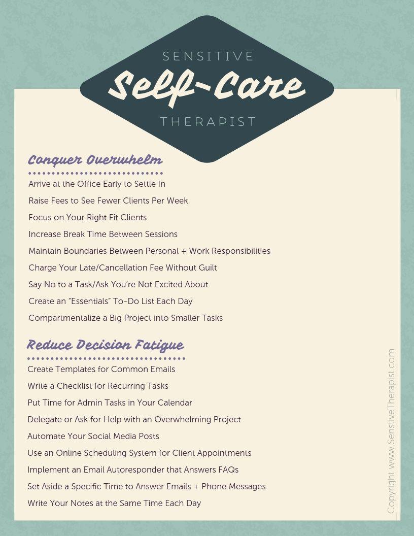 Sensitive Therapist Self Care Menu