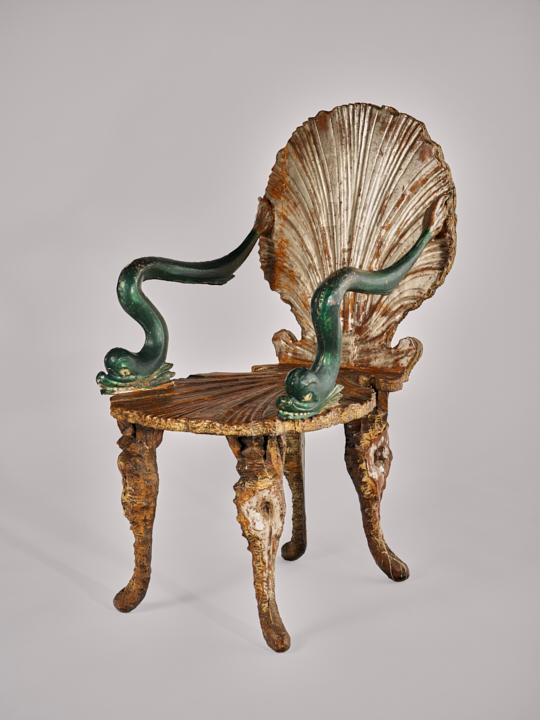 Venetian chair, Germany or Italy, 19th century Pine wood, paint, varnished silver plating, and gilding, 89 x 55 x 74 cm   Musée Matisse, Nice. Former collection of Henri Matisse. Bequest of Madame Henri Matisse, 1960, 63.2.125 Photo © François Fernandez, Nice Exhibition organised by the Royal Academy of Arts, London, and the Museum of Fine Arts, Boston, in partnership with the Musée Matisse, Nice.