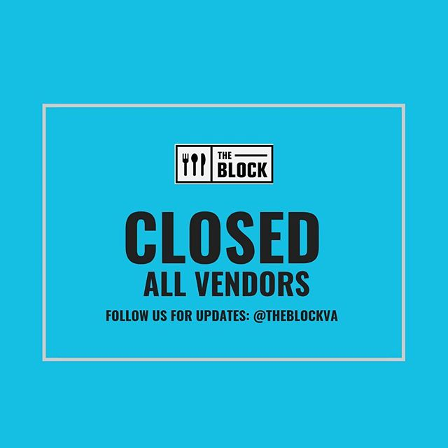 Due to the weather, we are CLOSED FOR THE NIGHT! Please stay safe and warm everyone!! #theblockva #snocreamcompany #munchicecream #balokitchen #pokeworks #thairoots