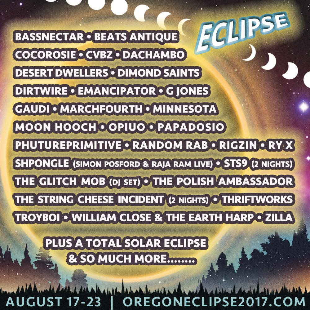 two performances - *Eclipse Stage*Sun, August 20 from 5:15PM-7:00PM*Big Top Tent*Mon, August 21 from 9:30PM-10:45PM