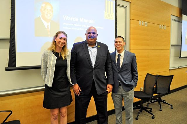 A huge thank you to Michigan Athletic Director Warde Manuel for taking time out of his day to come speak to our SBA members! Warde talked about his career path, some lessons he has learned along the way, and his current role within Michigan Athletics. He also offered some great career and life advice!