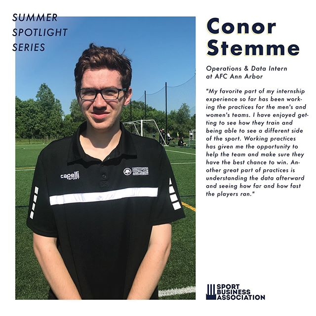 SUMMER SBA MEMBER SPOTLIGHT Here's our member of the week and the internship he is working at for the summer!  Conor Stemme: Junior | SM / History Minor | AFC Ann Arbor