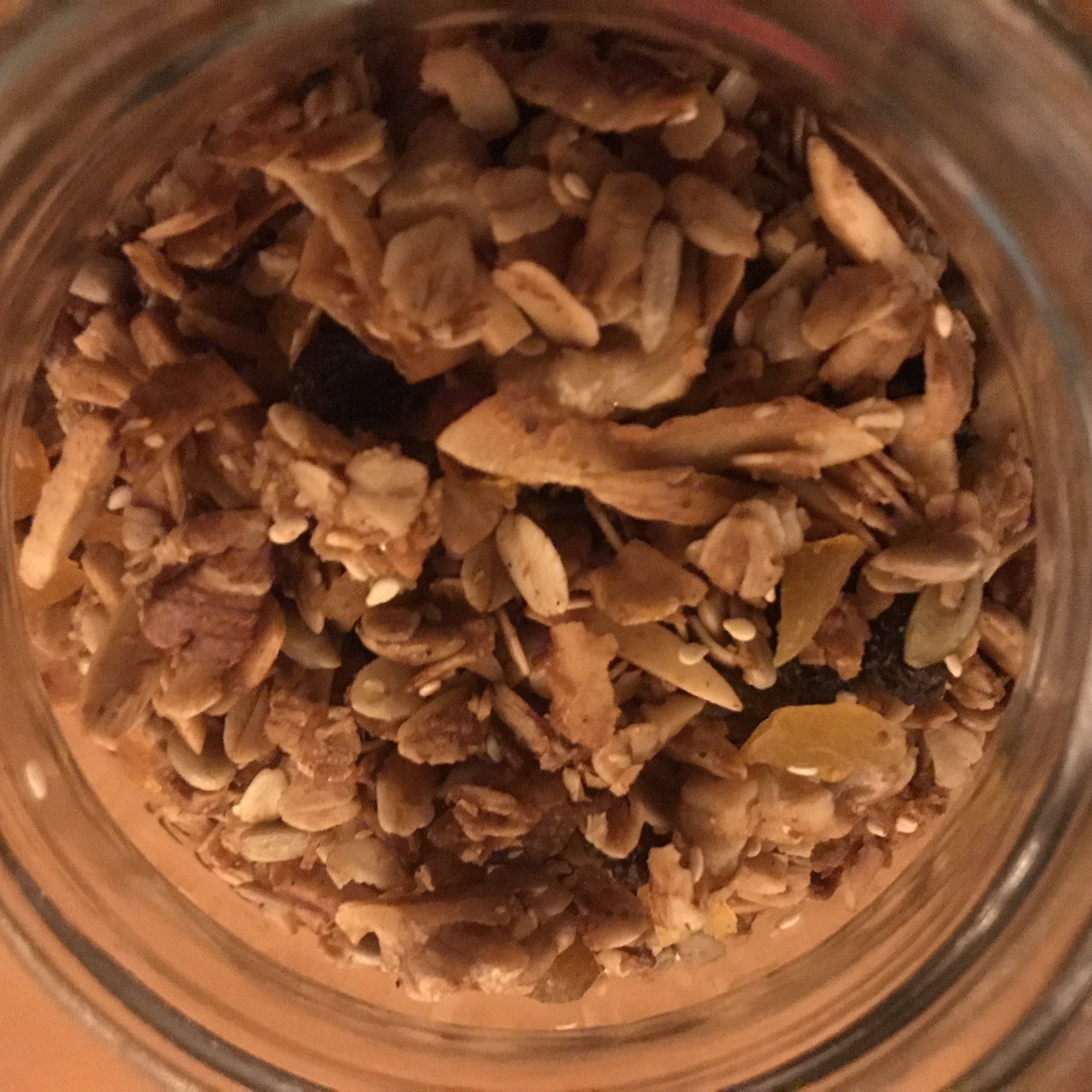 Coco-Granola filled to the tippy top of a giant mason jar. It's what's on the inside that counts!