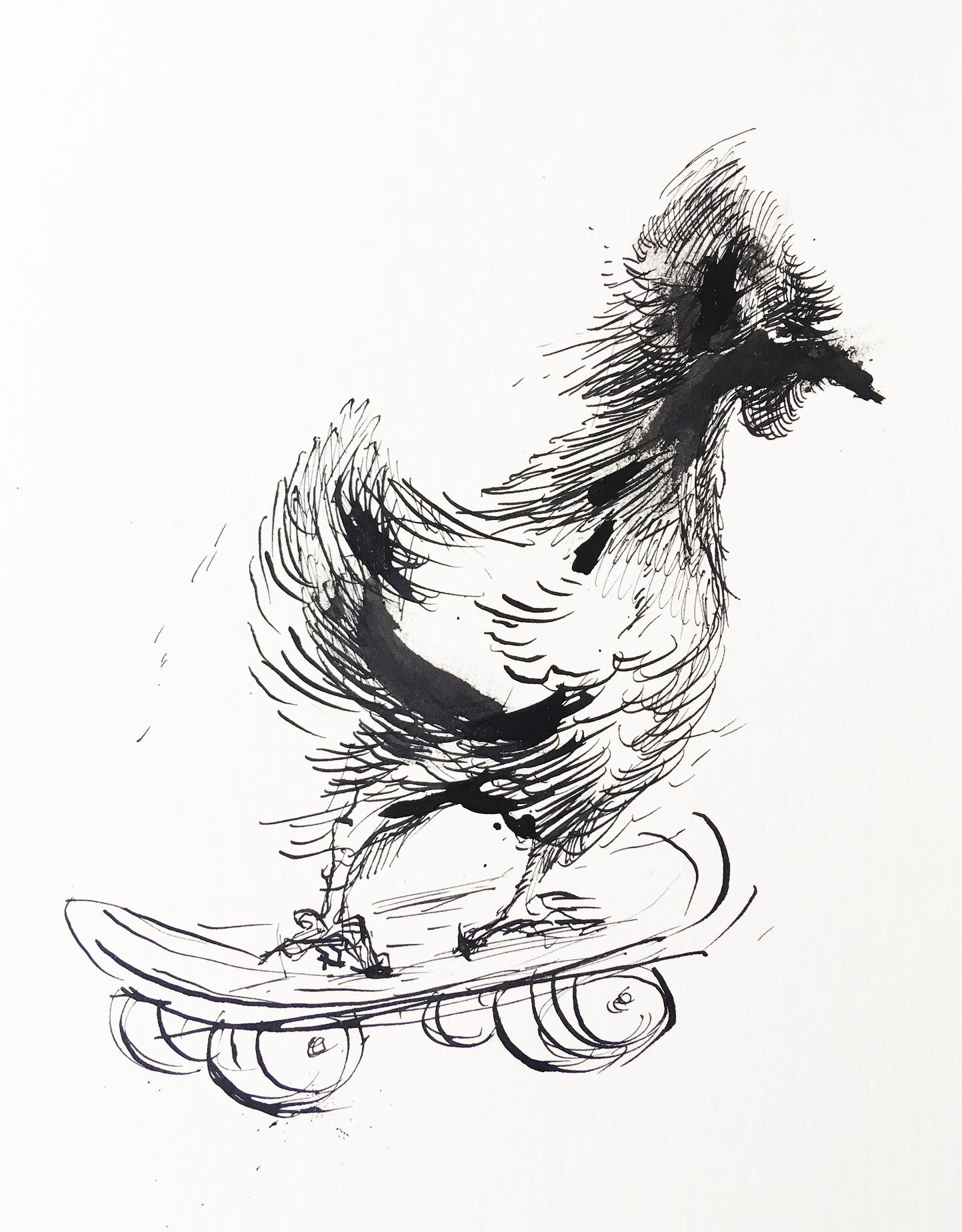 "Chicken on a Board   Paper size: 12""x12"", ink on paper, 2018   Framed: $900.  Unframed: $700."