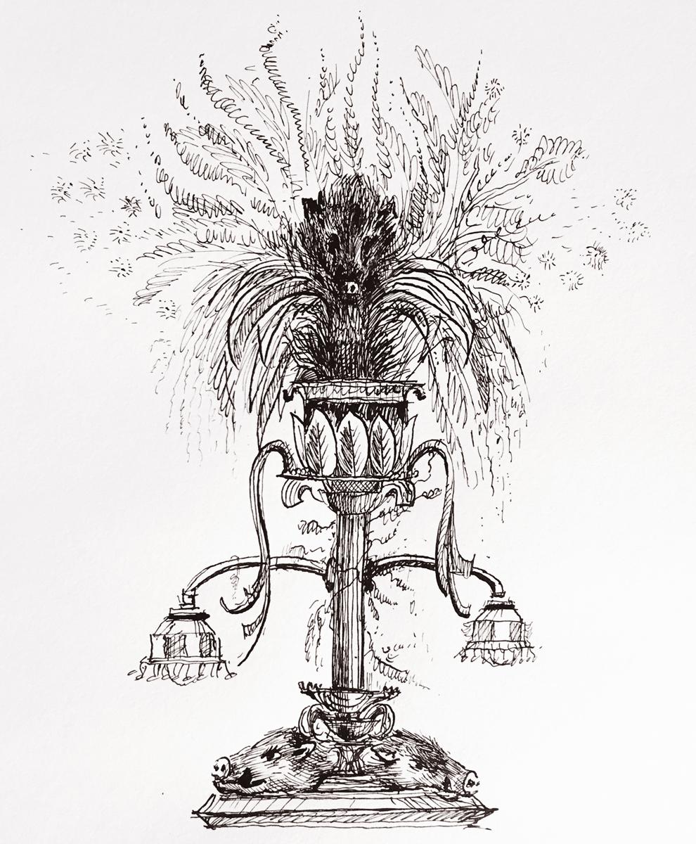 """Arboreal Boar  14""""x10"""" , Ink on paper, 2018    Framed: $900  Unframed: $700  Original artwork, no prints available."""
