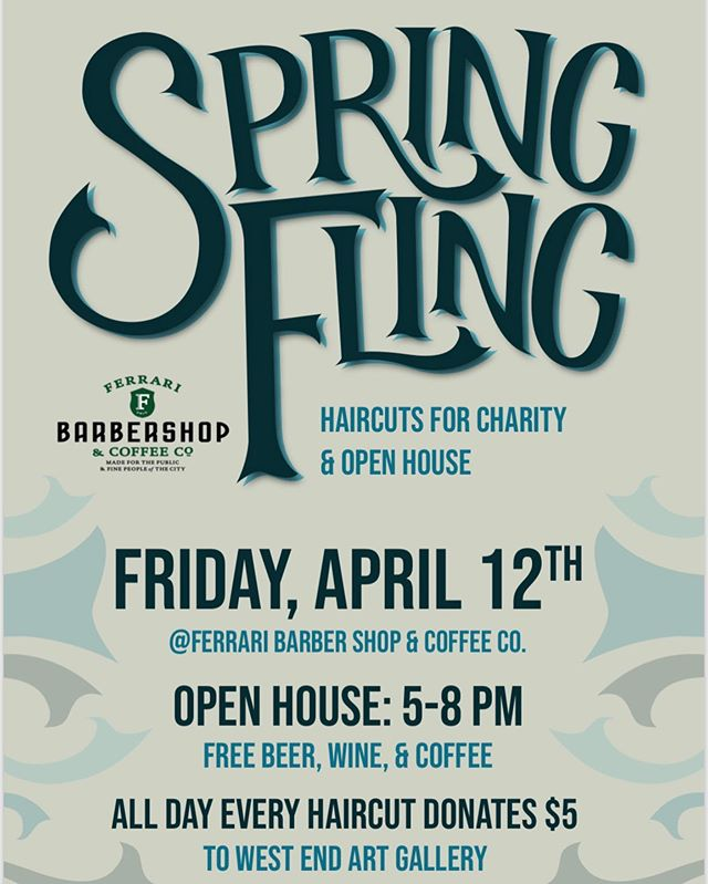 Don't forget tomorrow we are having our Spring Fling! Come hang out and mingle! $5 from every haircut all day is donated to West End Art Gallery, Free wine, beer and snacks. See you all there ✌️