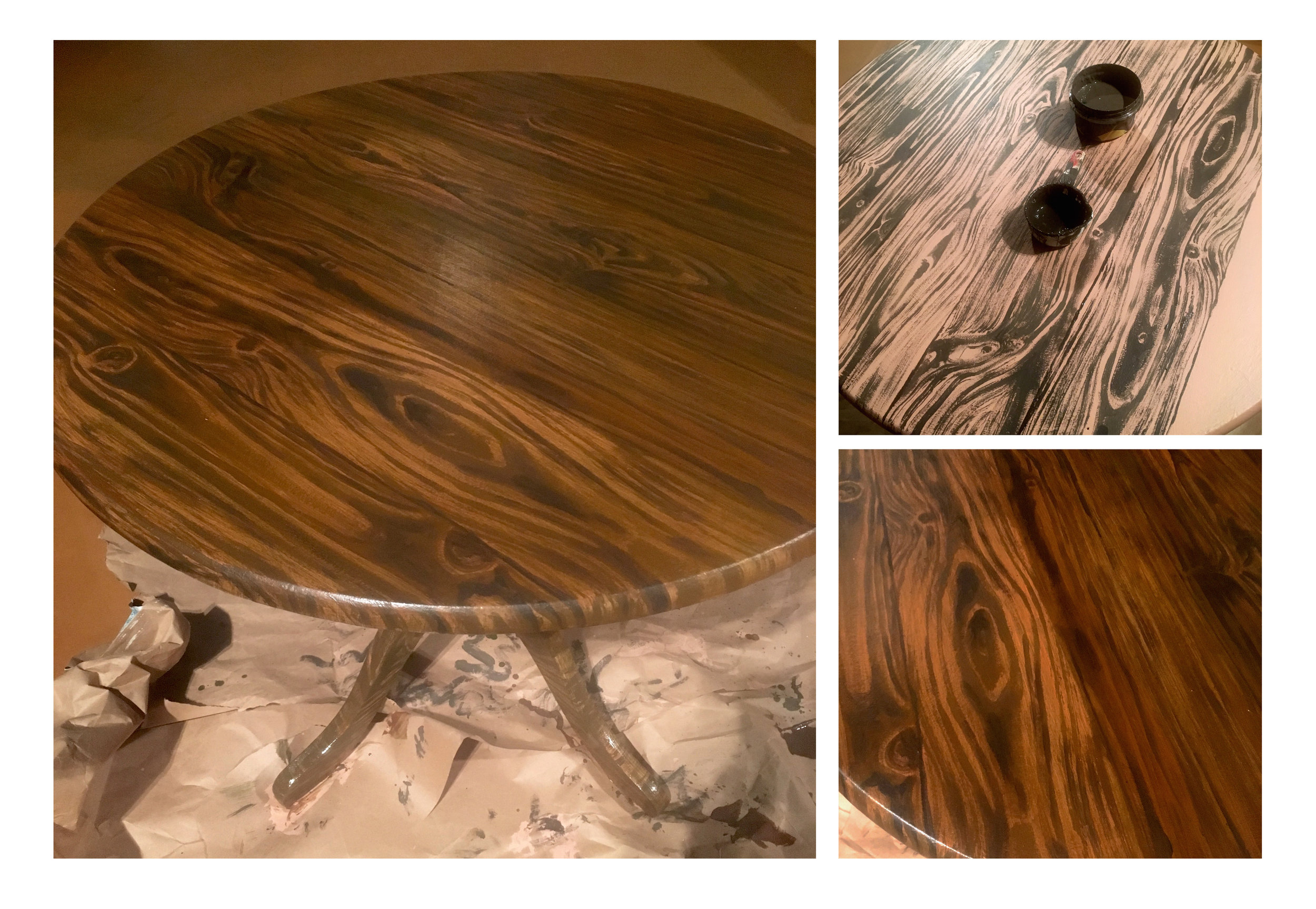 Faux Wood Grain Table, and process images
