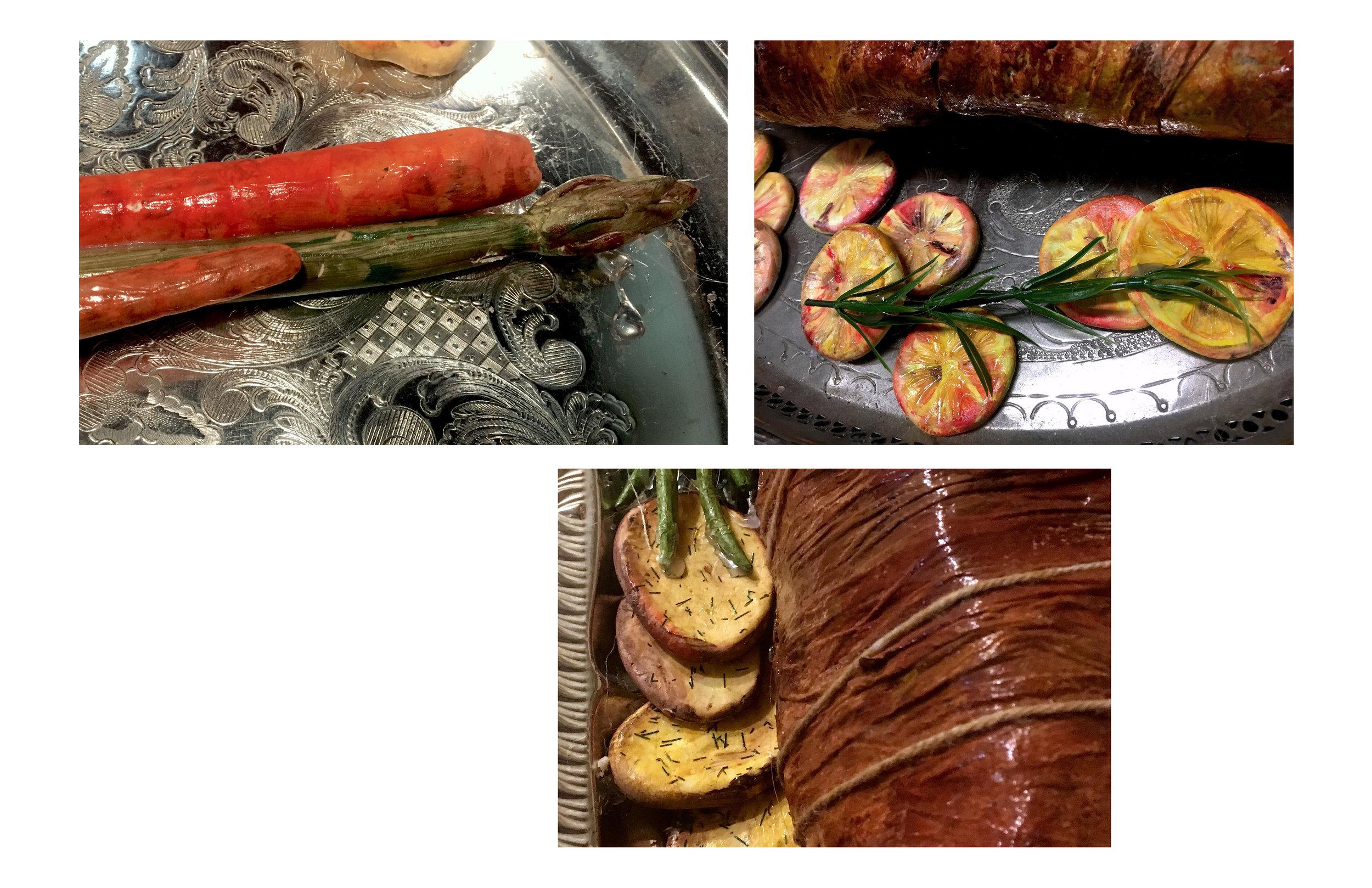 Roast dressings: grilled carrots and asparagus, roasted lemons, roasted potatoes