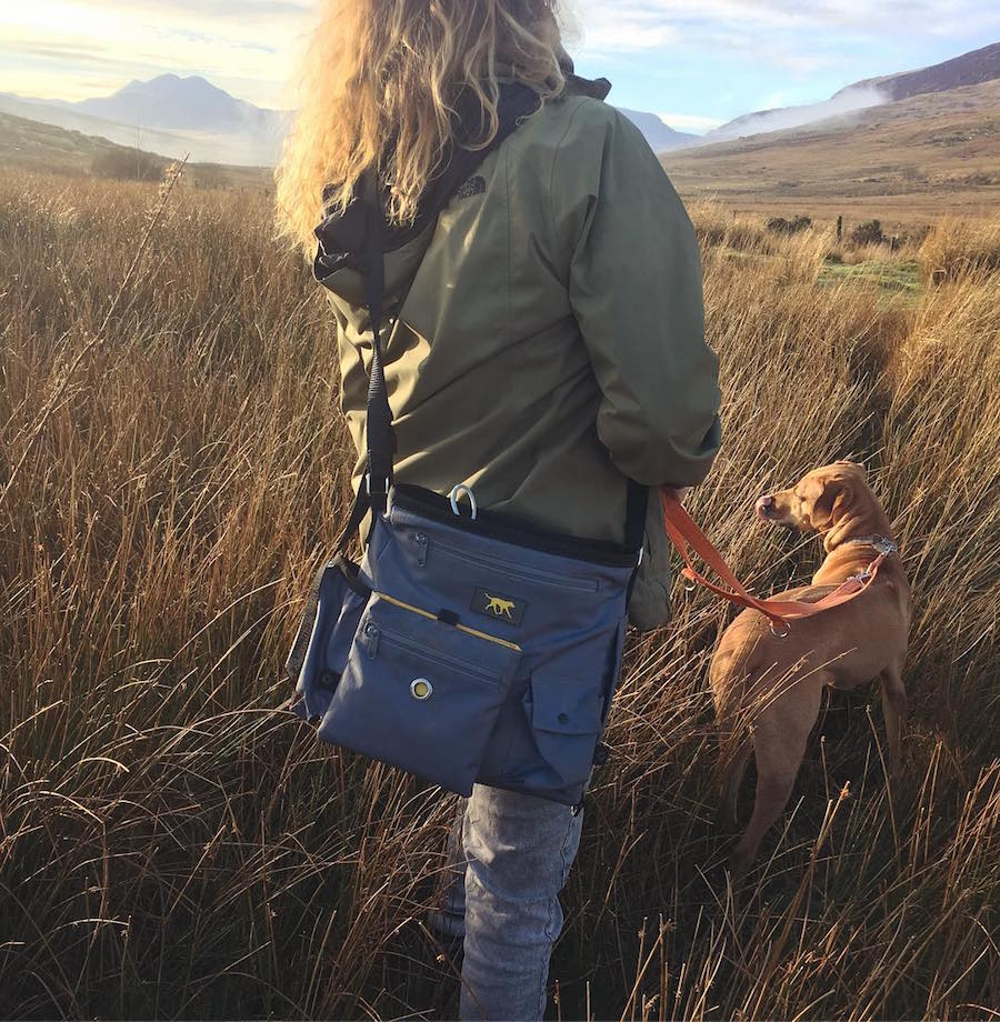 Woman walking a dog carrying Awen, our largest cross body dog walking bag.