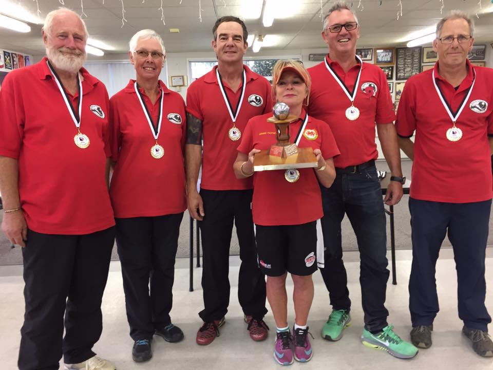 "National Club Champions 2017, Herne Bay ""Green"": Ian Baker, Margaret Penny, Allan Fletcher, Pam Jenkins, Richard Swaney, Selywyn Sainty"